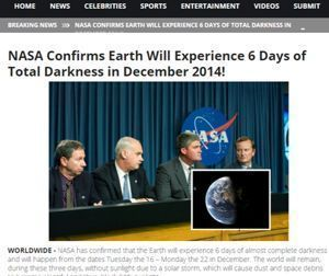 NASA Confirms Earth Will Experience 6 Days of Total Darkness in December 2014